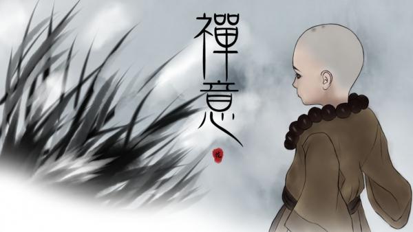 【江湖笔墨客】手绘壁纸·禅意   一只噘嘴的小和尚
