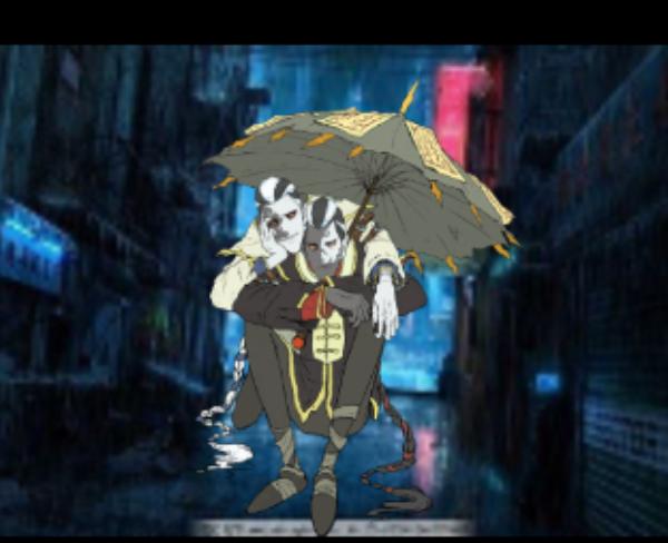 主题:躲雨的小黑小白昵称:嵇语蝶士晋