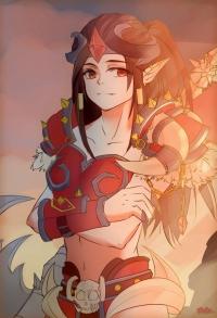 【大触团】板绘——夕阳下的女战士