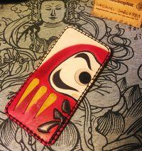 【原创手工皮具】和风达摩款 四卡位便携卡夹